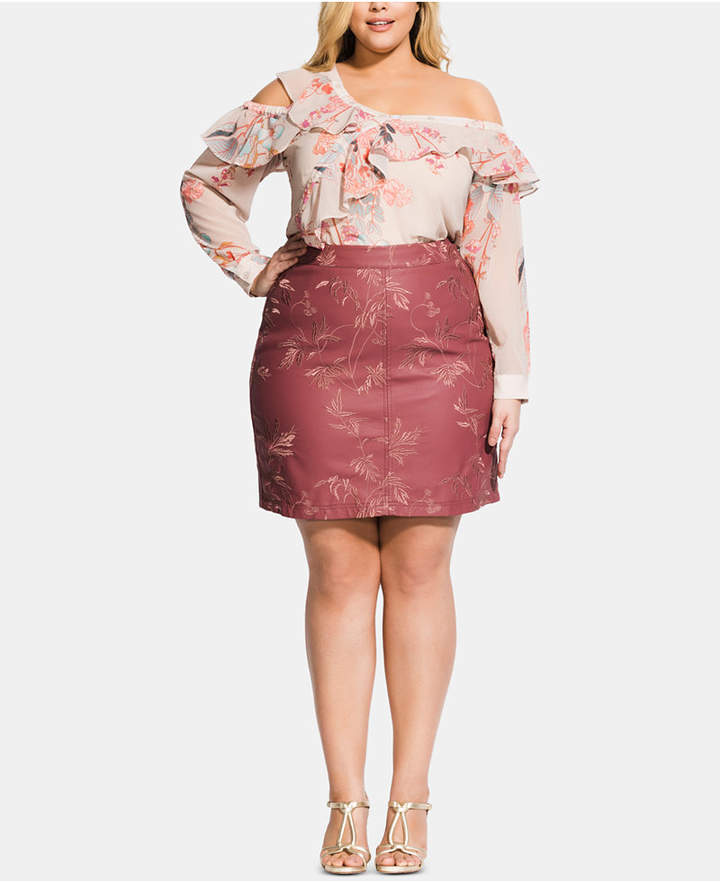 27394250bc Plus Size Faux Leather Skirt - ShopStyle