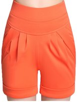 Miaokalin Women's Plus Size Candy Color High-rise Elastic Sweat Harem Shorts (L, )