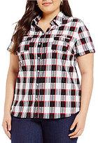 Allison Daley Plus Plaid Button-Front Shirt