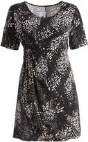 Glam Black & White Abstract Gathered-Waist Shift Dress - Plus