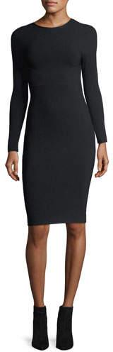 Helmut Lang Long-Sleeve Crewneck Tieback Fitted Dress