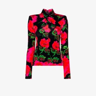 Richard Quinn Crossover Neck Floral Velvet Top