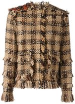 MSGM frayed tweed jacket
