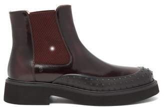 Tod's Rubber-toe Patent-leather Chelsea Boots - Womens - Burgundy