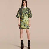 Burberry Tapestry Print Sculptured Sleeve Shift Dress