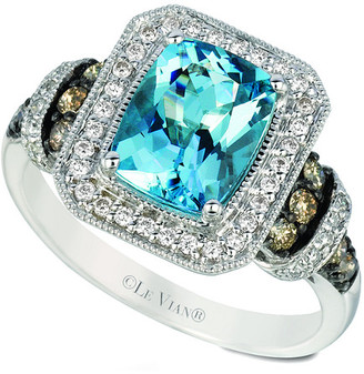 LeVian Le Vian 14K 1.91 Ct. Tw. Diamond & Sea Blue Aquamarine Ring