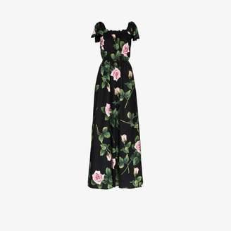 Dolce & Gabbana Womens Black Rose Print Tie Shoulders Maxi Dress