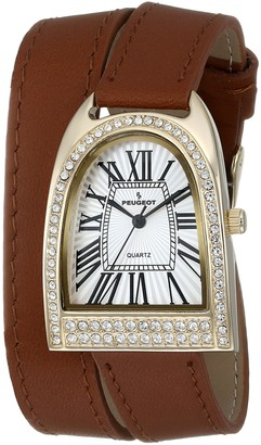 Peugeot Womens Gold Tone Double Wrap Crystal Watch