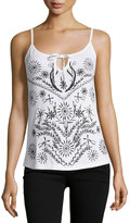 Design History Embroidered Tie-Front Tank, White/Onyx