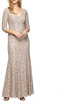Alex Evenings Sequined Lace 3/4 Sleeve Gown