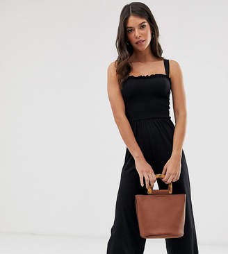 New Look Tall shirred ruffle strappy jumpsuit in black