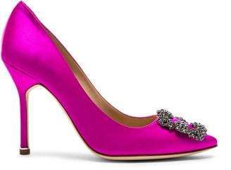 Manolo Blahnik Hangisi 105 Satin Pumps in Hot Pink Satin | FWRD