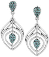 Lucky Brand Silver-Tone Blue Stone Cluster Drop Earrings