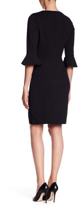 Donna Morgan Bell Sleeve Crepe Bodycon Dress