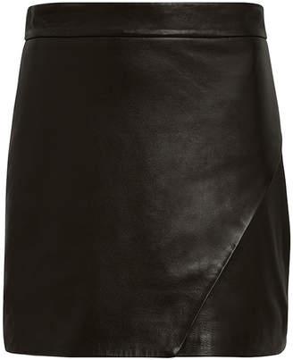 Mason by Michelle Mason Wrap Leather Mini Skirt