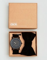 Asos Watch And Bow Tie Set In Black
