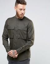 Asos Regular Fit Military Shirt In Drape Fabric With Grandad Collar In Khaki