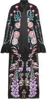 Temperley London Woodland Satin-trimmed Embroidered Silk-chiffon Midi Dress - Black