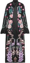 Temperley London Woodland Satin-trimmed Embroidered Silk-chiffon Midi Dress