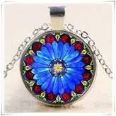 Flowers Vintage Flower Cabochon Tibetan Silver Glass Chain