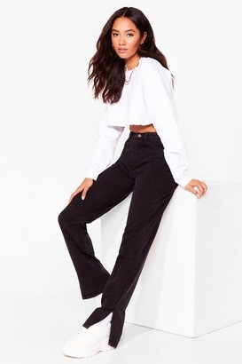 Nasty Gal Womens Slit's Now or Never Petite High-Waisted Jeans - Black - 12, Black