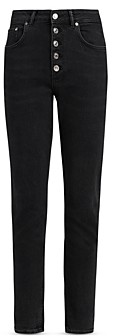 AllSaints Jules High Rise Ankle Jeans in Washed Black