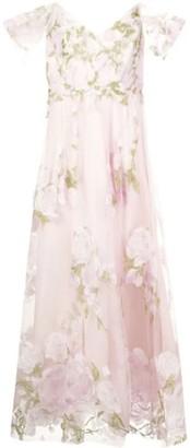 Marchesa Notte Cold-Shoulder Embroidered Tulle Dress