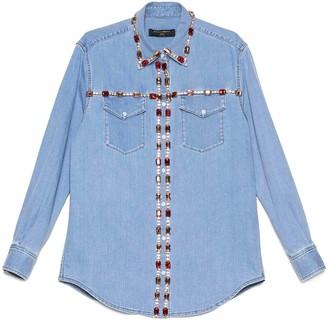 Dolce & Gabbana Jewel Embellished Denim Shirt