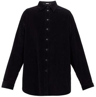 The Row Bette Boxy Cotton-corduroy Overshirt - Black