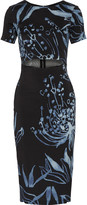 Suno Cutout printed stretch-silk dress