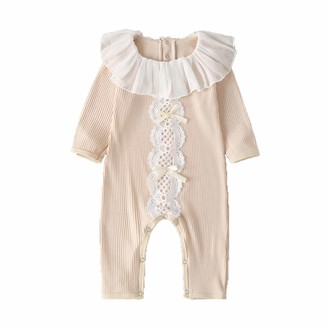 Jamicy   Shoes Jamicy Newborn Baby Girls Lace Ruffles Pyjamas Romper Jumpsuit Clothes Infant Long Sleeve Doll Collar Frilled Stripe Bag Fart Clothes (12-18 Months