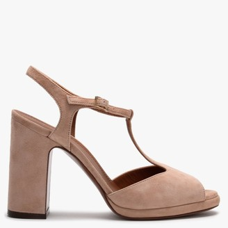 L'Autre Chose T-Bar Nude Suede Low Platform Sandals