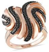 Catherine Malandrino Black Diamond Heart Swirl Cocktail Ring.