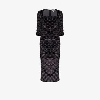 Ganni Polka Dot Ruched Velvet Midi Dress