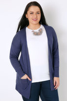 Yours Clothing Denim Blue Longline Cardigan With Pointelle Pocket & Cuff Detail