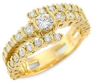 Plevé 18K Yellow Gold Diamond Shank Bypass Wrap Ring