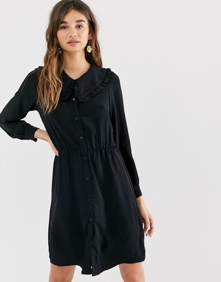 Monki mini dress with long sleeve and oversized collar in black