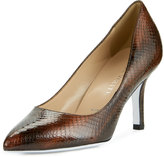 Ron White Cristina Lizard-Embossed Pointed-Toe Pump, Chocolate