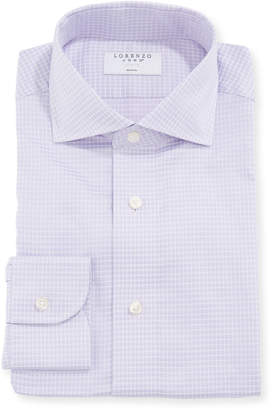 Lorenzo Uomo Men's Fine Check Print Dress Shirt