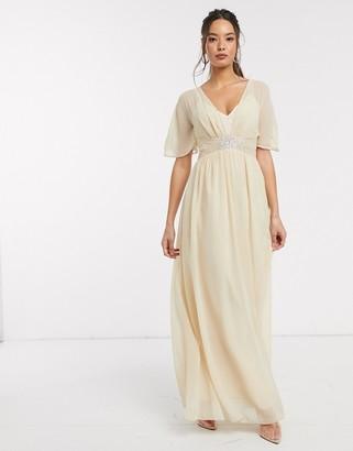 Little Mistress maxi dress with embellished waist in beige