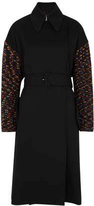 M Missoni Black Wool And Chunky-knit Coat