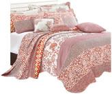 """Serenta Coral Chevron 9-Piece Bed Spread Set, Coral, King, 122""""x106"""""""
