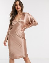 Asos Design DESIGN midi dress batwing sleeve bias cut