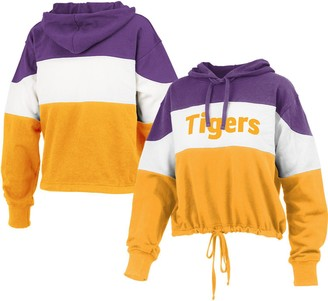 Women's Pressbox Purple/Gold LSU Tigers Callie Colorblock Pullover Hoodie