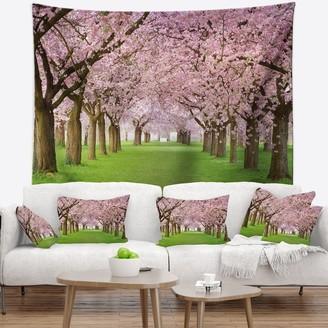 Design Art Designart 'Stunning Cherry Blossoms Plenitude' Landscape Wall Tapestry