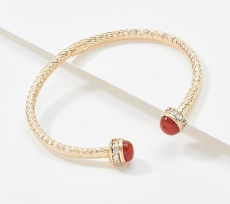 Imperial Gold Diamond Cut Bangle with Gemstones 14K Gold