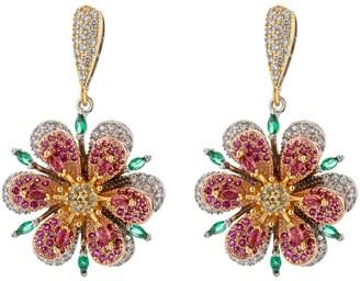 Eye Candy La 18K Goldplated & Multicolored Crystal Flower Drop Earrings