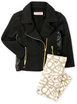 Juicy Couture Newborn/Infant Girls) Two-Piece Asymmetrical Knit Jacket & Printed Leggings Set