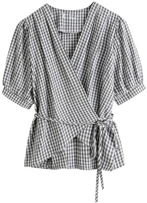 Goodnight Macaroon 'Britta' Gingham Puff Sleeves Wrap Top
