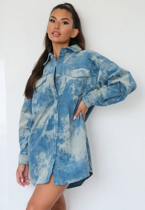 Missguided Tie Dye Cord Oversized Shirt Dress